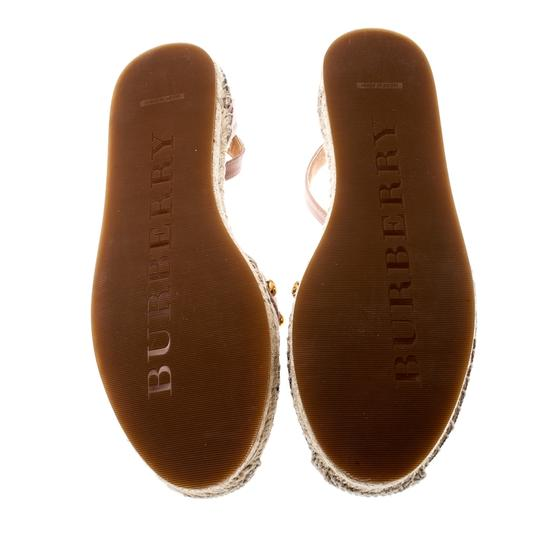 Burberry Studded Leather Canvas Pink Flats Image 5