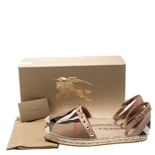 Burberry Studded Leather Canvas Pink Flats Image 7