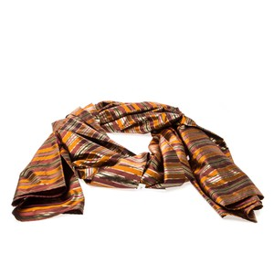 Céline Celine Multicolor Metallic Striped Silk Scarf