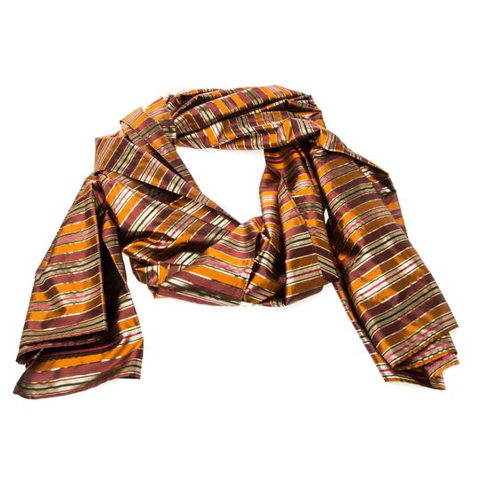 Céline Celine Multicolor Metallic Striped Silk Scarf Image 1