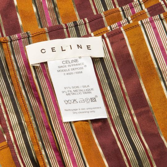 Céline Celine Multicolor Metallic Striped Silk Scarf Image 4