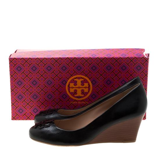 Tory Burch Leather Wedge Black Pumps Image 7