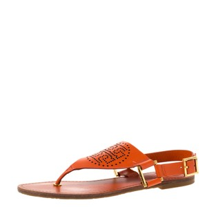 Tory Burch Perforated Leather Orange Sandals