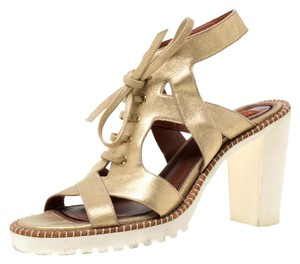 Missoni Suede Leather Gold Sandals