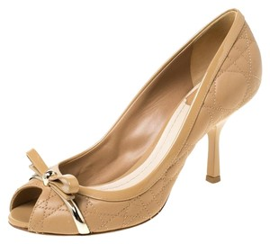 Dior Leather Peep Toe Beige Pumps