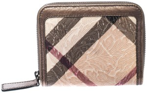 Burberry Floral Embossed Nova Check PVC and Leather Zip Around Compact Wallet