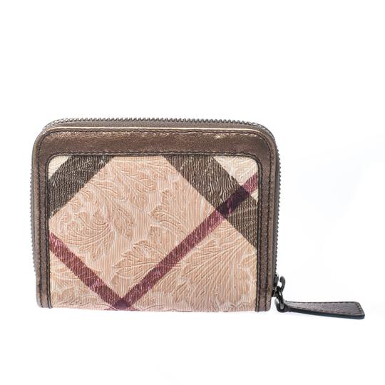 Burberry Floral Embossed Nova Check PVC and Leather Zip Around Compact Wallet Image 1