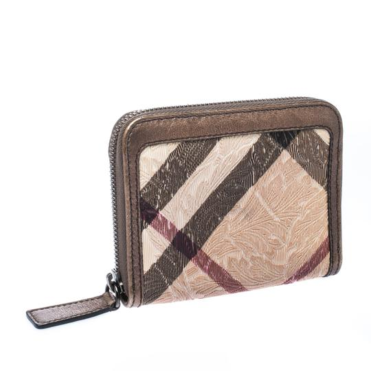 Burberry Floral Embossed Nova Check PVC and Leather Zip Around Compact Wallet Image 2
