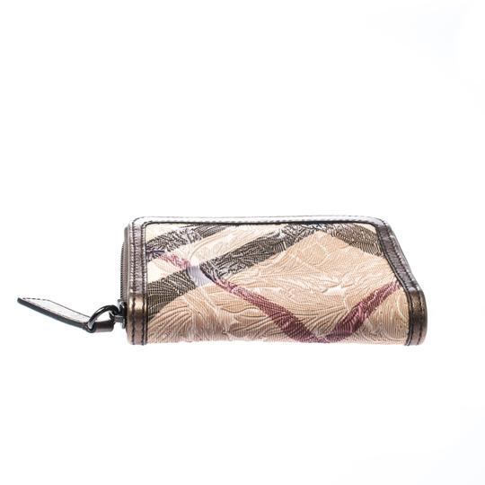 Burberry Floral Embossed Nova Check PVC and Leather Zip Around Compact Wallet Image 3