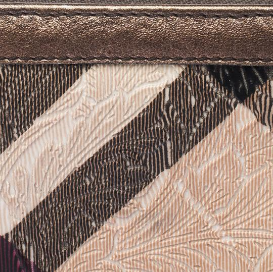 Burberry Floral Embossed Nova Check PVC and Leather Zip Around Compact Wallet Image 6