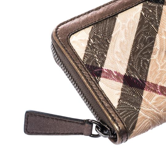 Burberry Floral Embossed Nova Check PVC and Leather Zip Around Compact Wallet Image 7