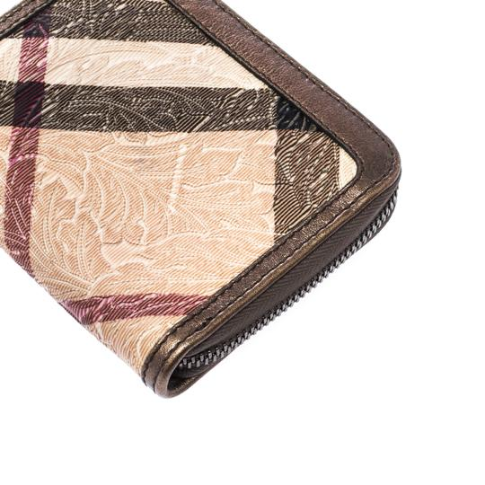 Burberry Floral Embossed Nova Check PVC and Leather Zip Around Compact Wallet Image 8