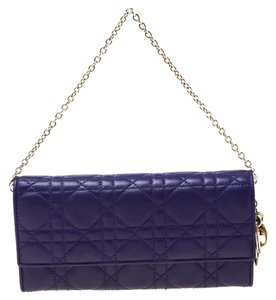 Dior Dior Purple Cannage Leather Lady Dior Rendez-Vous Wallet On Chain