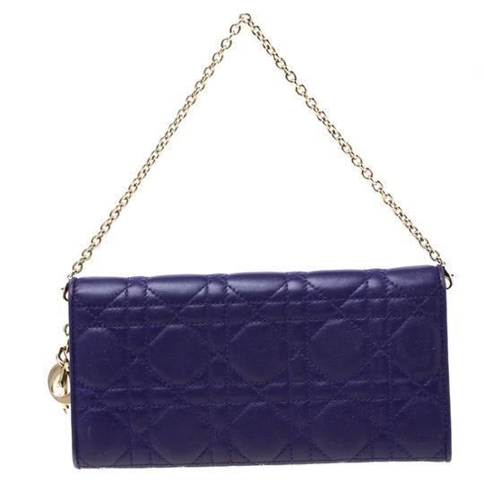 Dior Dior Purple Cannage Leather Lady Dior Rendez-Vous Wallet On Chain Image 1