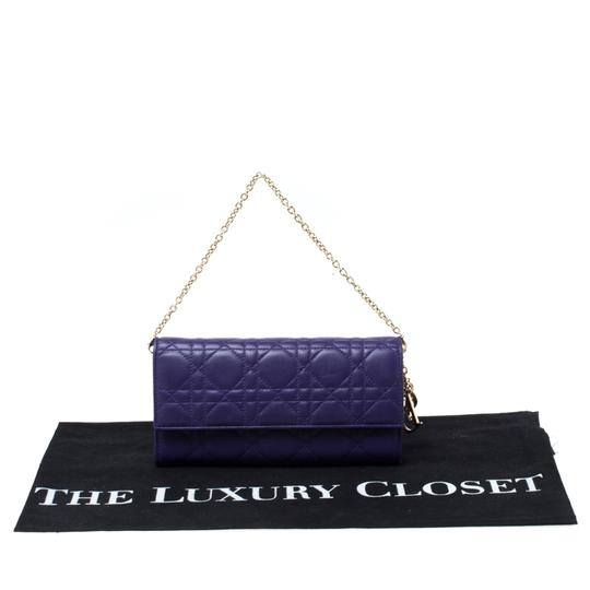 Dior Dior Purple Cannage Leather Lady Dior Rendez-Vous Wallet On Chain Image 10