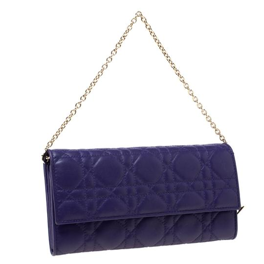 Dior Dior Purple Cannage Leather Lady Dior Rendez-Vous Wallet On Chain Image 3