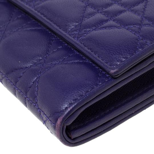 Dior Dior Purple Cannage Leather Lady Dior Rendez-Vous Wallet On Chain Image 5