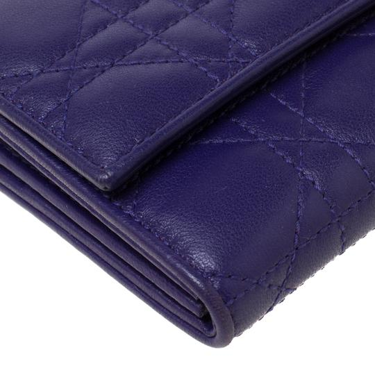 Dior Dior Purple Cannage Leather Lady Dior Rendez-Vous Wallet On Chain Image 6