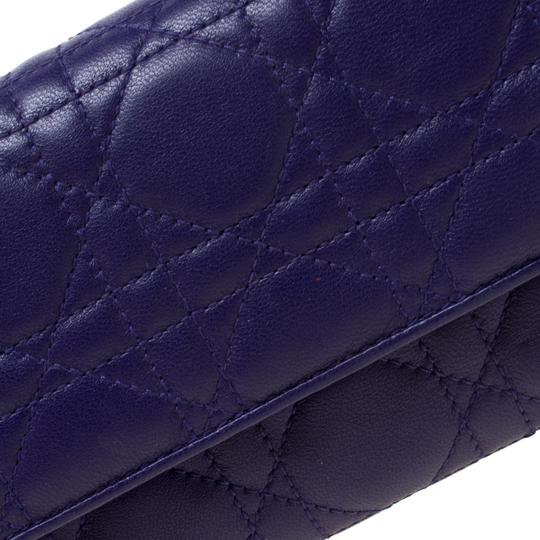 Dior Dior Purple Cannage Leather Lady Dior Rendez-Vous Wallet On Chain Image 7