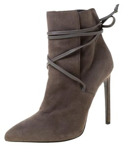 Saint Laurent Paris Suede Pointed Toe Grey Boots