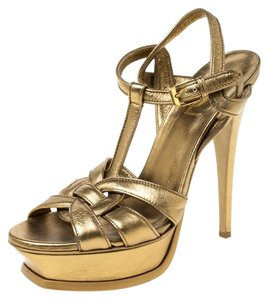 Saint Laurent Paris Metallic Leather Platform Gold Sandals
