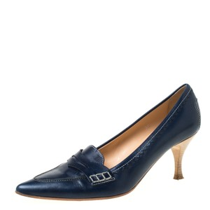 Tod's Leather Pointed Toe Navy Blue Pumps