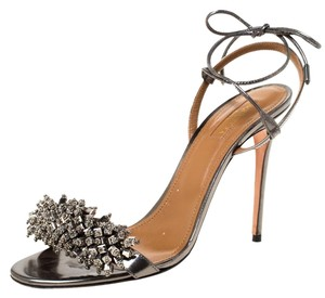 Aquazzura Metallic Leather Embellished Open Toe Grey Sandals