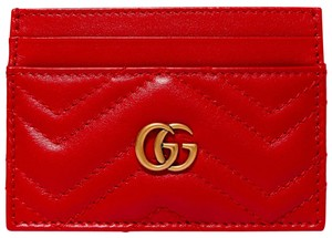 Gucci NEW GUCCI GG LOGO RED LEATHER CARD CASE WALLET NEW