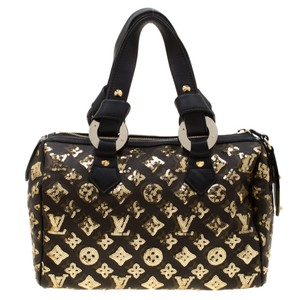 Louis Vuitton Leather Canvas Satchel in Black