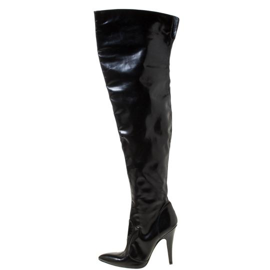 Burberry Leather Pointed Toe Zipped Black Boots Image 4