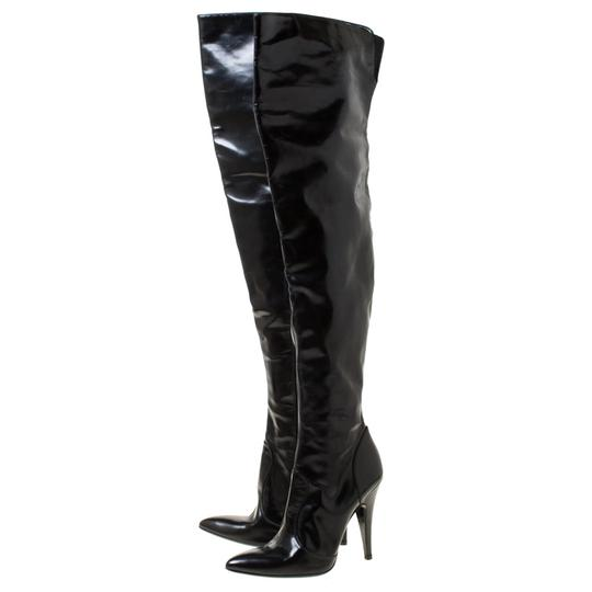 Burberry Leather Pointed Toe Zipped Black Boots Image 5