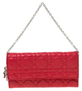 Dior Red Cannage Leather Lady Dior Wallet On Chain