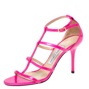 Jimmy Choo Patent Leather Open Toe Pink Sandals