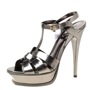 Saint Laurent Metallic Leather Platform Grey Sandals