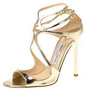 Jimmy Choo Leather Gold Sandals