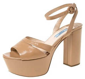 Prada Patent Leather Ankle Strap Platform Rubber Beige Sandals