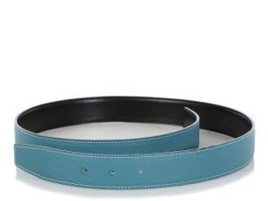 Hermès BLEU JEAN TOGO LEATHER AND BLACK CALFSKIN REVERSIBLE BELT STRAP 32MM