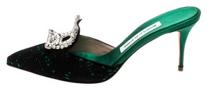 Manolo Blahnik Embellished Satin Lace Crystal Green Sandals