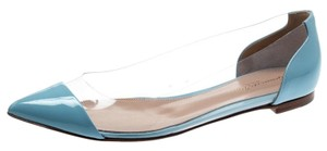 Gianvito Rossi Patent Leather Pointed Toe Ballet Blue Flats