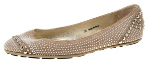 Jimmy Choo Suede Studded Ballet Leather Beige Flats