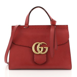 Gucci Gg Marmont Top Handle Satchel in red