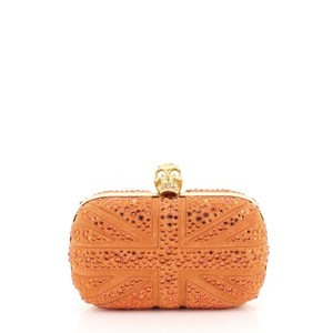 Alexander McQueen Britannia Skull Studded orange Clutch