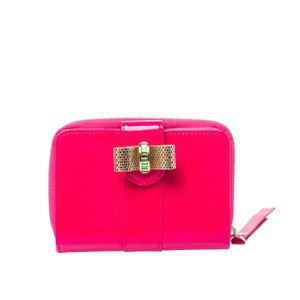 Christian Louboutin Christian Louboutin Neon Pink Patent Leather Sweet Charity Wallet