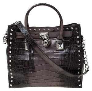 MICHAEL Michael Kors Leather Nylon Studded Tote in Grey