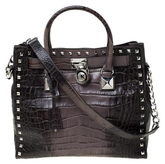 MICHAEL Michael Kors Leather Nylon Studded Tote in Grey Image 0