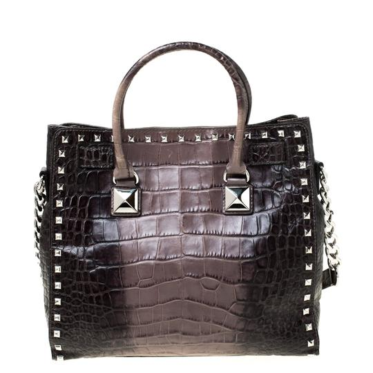 MICHAEL Michael Kors Leather Nylon Studded Tote in Grey Image 1