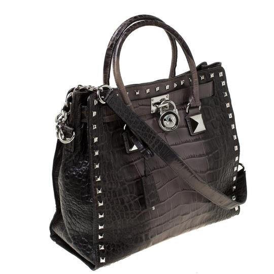 MICHAEL Michael Kors Leather Nylon Studded Tote in Grey Image 3