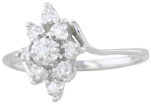 Other .15ctw Diamond Cluster Flower Ring - 14k White Gold Size 8 Bypass Band