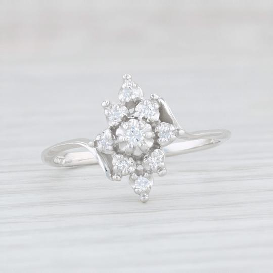 Other .15ctw Diamond Cluster Flower Ring - 14k White Gold Size 8 Bypass Band Image 1