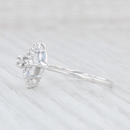 Other .15ctw Diamond Cluster Flower Ring - 14k White Gold Size 8 Bypass Band Image 2